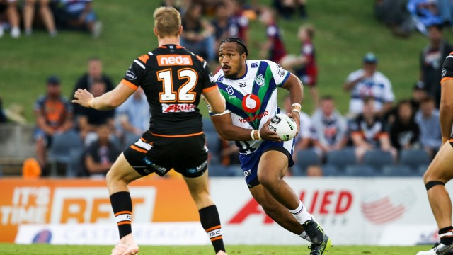 Agnatius Paasi in possession. Wests Tigers v Vodafone Warriors, NRL Rugby League. Campbelltown Stadium, Sydney, Australia. Sunday 24th March 2019. Copyright Photo: David Neilson / www.photosport.nz