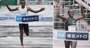 Birhanu Legese and Ruti Aga win the Tokyo Marathon.