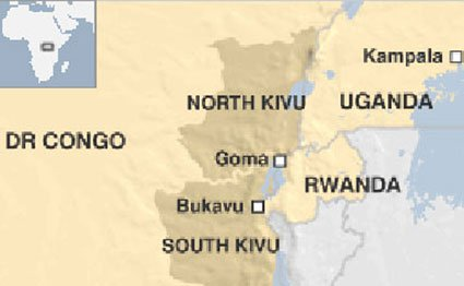 Eastern DR Congo, bordering Uganda and Rwanda.