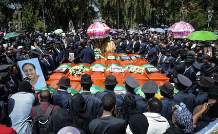 Coffins of victims of the crashed accident of