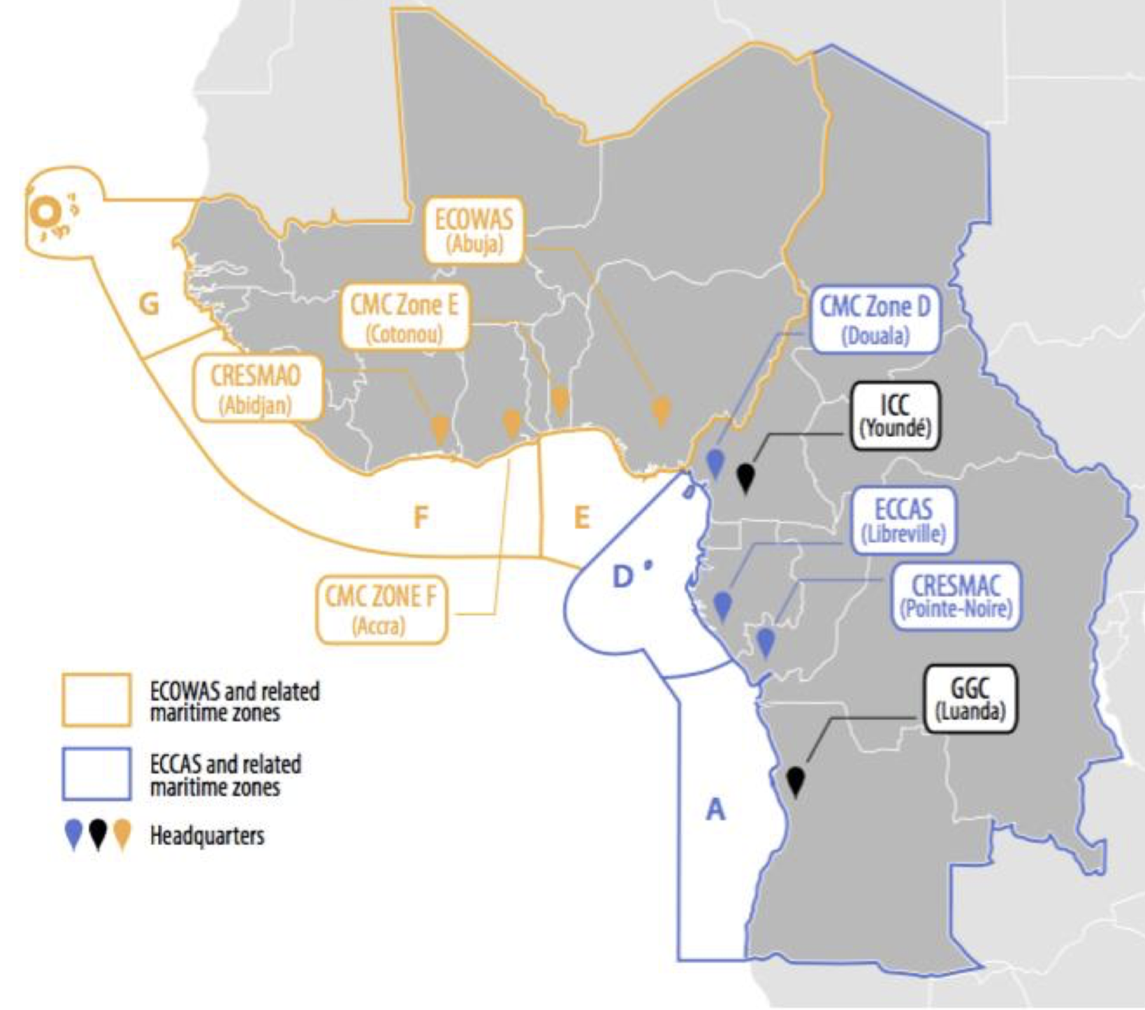 ICC and CMC Gulf of Guinea outline with ECOWAS and ECCAS related maritime zones.