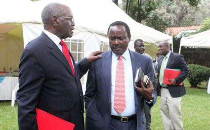David Musila (left), the national chairman of Wiper Democratic Movement - Kenya, with the party's leader Kalonzo Musyoka at its office in Lavington, Nairobi in May, 2016. PHOTO | DENNIS KAVISU | NATION MEDIA GROUP