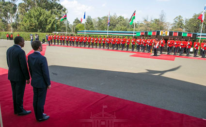 Uhuru Kenyatta and Emmanuel Macron