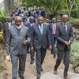 Presidents Yoweri Museveni (Uganda), Uhuru Kenyatta and Paul Kagame
