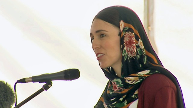 The Prime Minister shrugged off praise for her actions following the Mosque attacks in Christchurch as she spoke at a mosque in Auckland.