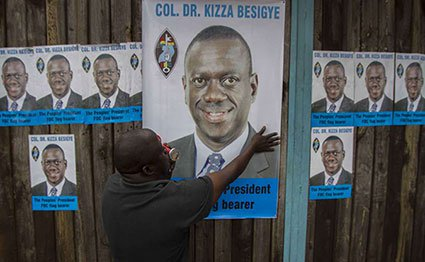 Campaign posters for Kizza Besigye for a past election.