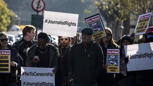 The SABC is not the only guilty party: Black Friday demonstration at the SABC offices. (Oupa Nkosi, M&G)
