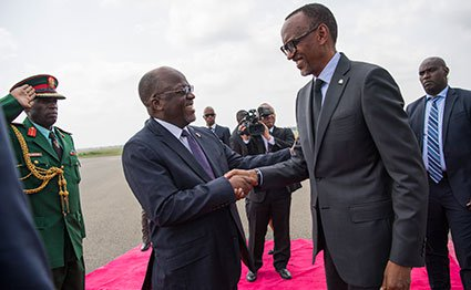 Tanzanian president John Magufuli welcomes his