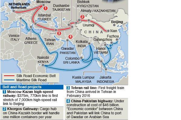 China's one belt, one road. SOURCES | XINHUA |