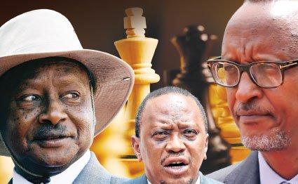 Presidents Yoweri Museveni, Uhuru Kenyatta and Paul Kagame.