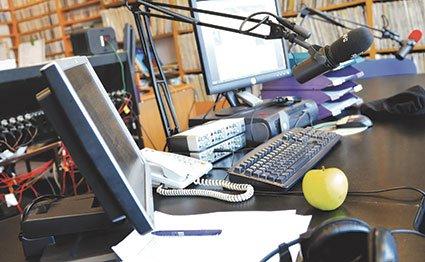 A radio studio.