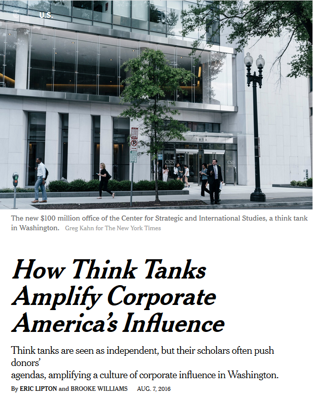 NYT: How Think Tanks Amplicy Corporate America's Influence