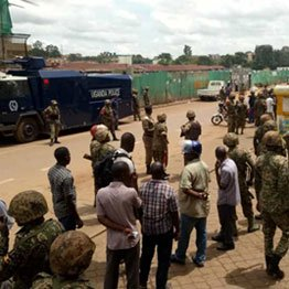Army and police deployed at Kisekka market, downtown Kampala