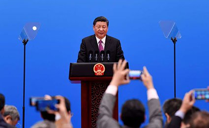 China's President Xi Jinping speaks at a press