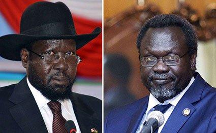 A combo photo of South Sudan President Salva