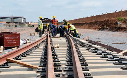 At work. Workers on the Kenyan side of SGR.