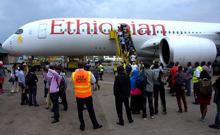Largest. Passengers disembark from an Ethiopian