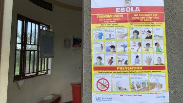 An Ebola-prevention information sign at the Ndaiga Health Centre II near the shores of Lake Albert and the Congo-Uganda border.