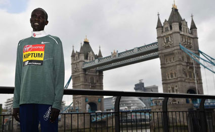 Men's elite runner Kenya's Abraham Kiptum poses during a photocall for the London marathon at Tower Bridge in central London on April 24, 2019. Kiptum was on April 26 suspended by the IAAF for failing a drugs test. PHOTO | BEN STANSALL |
