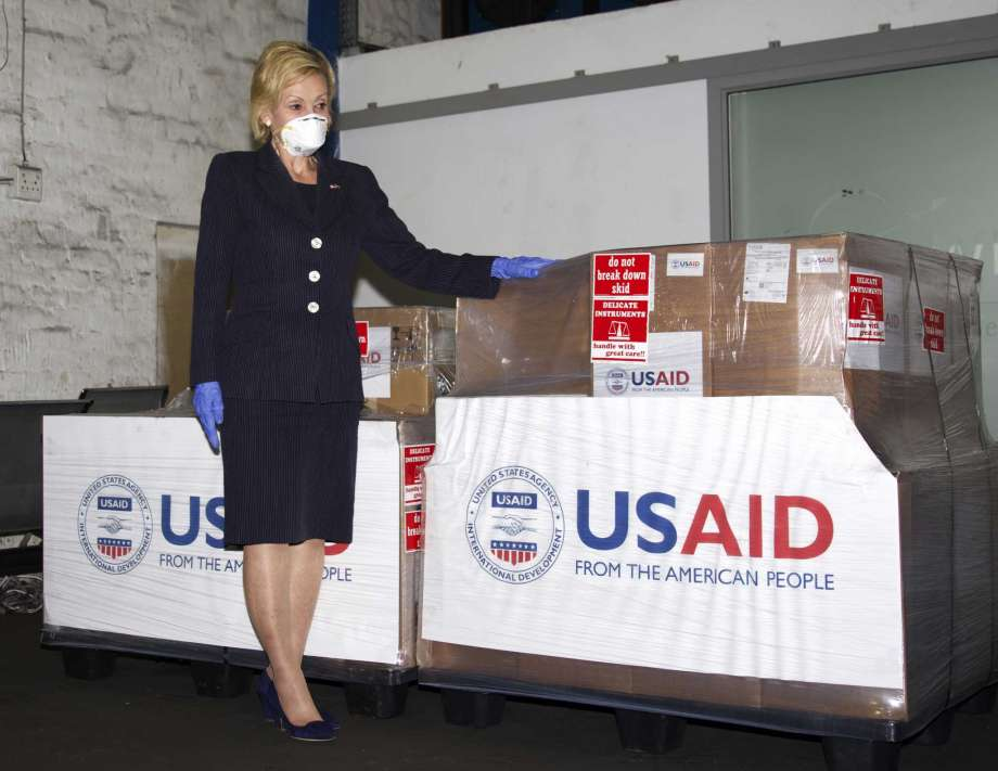 In this photo taken Monday May 11, 2020 at OR Tambo Airport Johannesurg and supplied by the United States Embassy in Pretoria, South Africa, showing U.S. Ambassador to South Africa Lana Marks posing with ventilators donated by the U.S. Government. The United State is donating up to 1000 ventilators to assist with South Africa's national response to COVID-19. (Photo/Leon Kgoedi, United States Embassy South Africa via AP) Photo: Leon Kgoadi, AP / LANGILATE PHOTOGRAPHY
